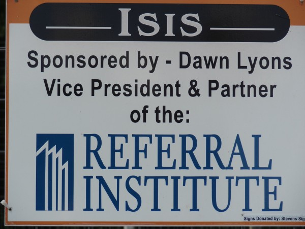 Dawn Lyons and the Referral Institute is a proud sponsor of Isis